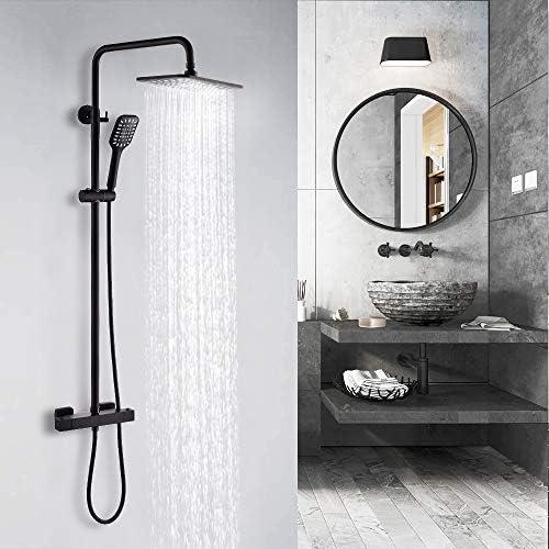 bater/ía termost/ática con alcachofa cuadrada de 20 x 25 cm Sistema de ducha con termostato 2 tipos de chorro DUTRIX color negro sistema de ducha de lluvia f/ácil instalaci/ón