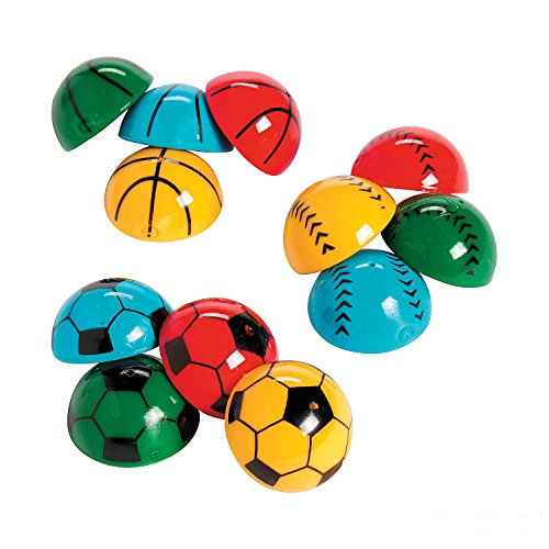Sports Pop Up Poppers 1.25 Inches - Pack Of 12 - Assorted Vibrant Colors Sports Balls Designed Poppers - For Kids Great Party Favors, Bag Stuffers, Fun, Toy, Gift, Prize, Piñata Fillers - By Kidsco