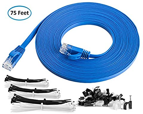 Maximm Cat6 Flat Ethernet Cable - 75 Feet - Blue - High Speed Internet Lan Cable with Snagless RJ45 Connectors For Fast Computer Networking + Cable Clips and - Cable Usb Rj 45 Connector