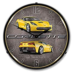 Corvette C7 Velociry Yellow LED Wall Clock, Retro/Vintage, Lighted, 14 inch