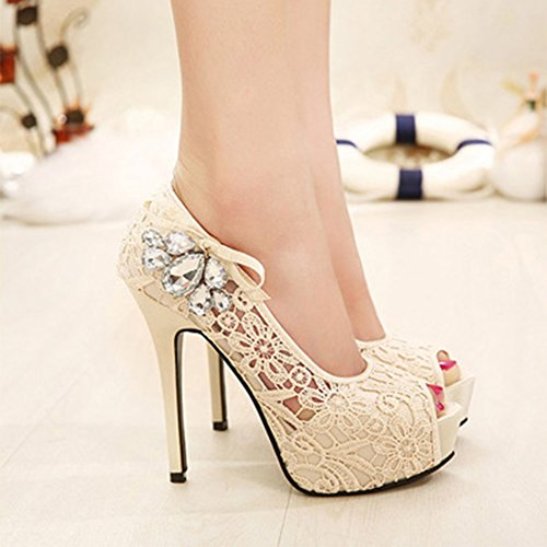 ED Lace Crystals Toe High Prom Hollow Shoes Platform Heels Pumps with Open apricot Party Flower Women's SrAqxTS