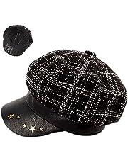ZffXH Plaid Ladies Newsboy hatt randig skärm basker keps för kvinnor tweed 8 paneler Applejack hatt murgröna kepsar