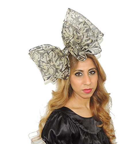 Hats By Cressida Ladies Sinamay Bow Ascot Fascinator Hat With Headband Floral Black Cream by Hats By Cressida