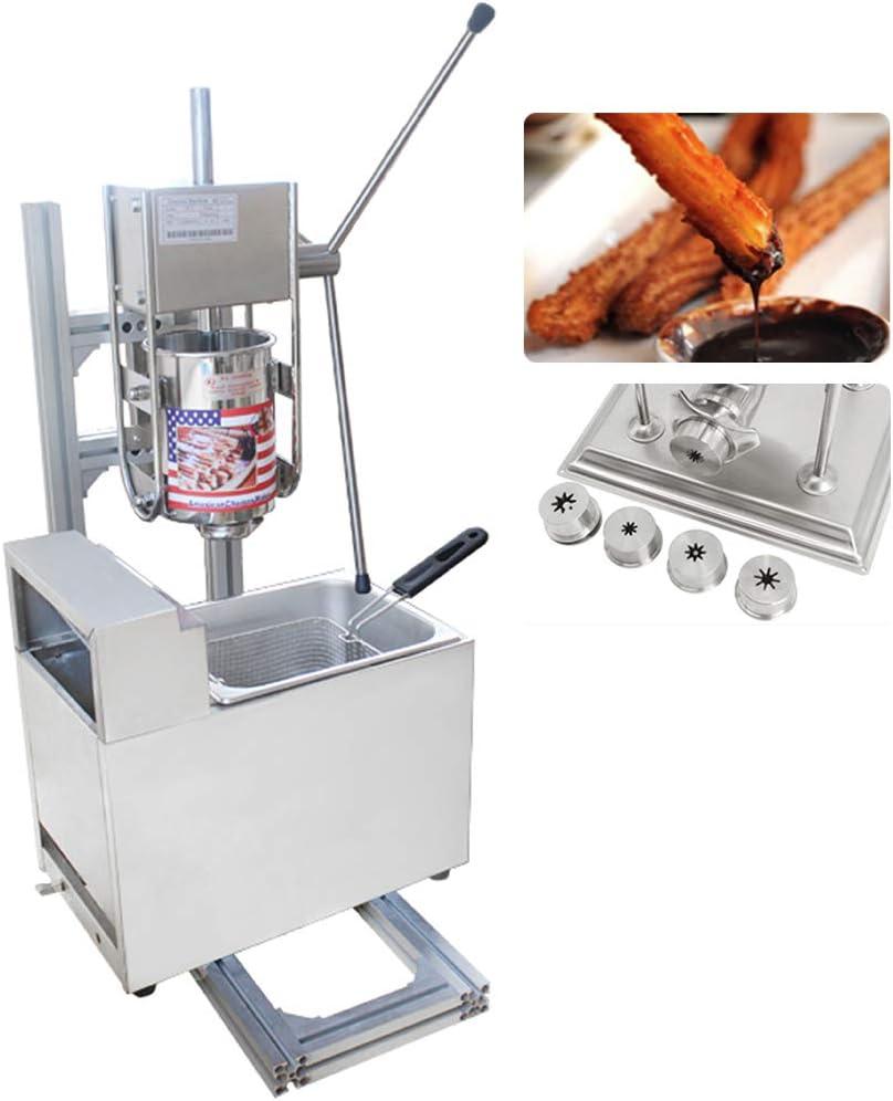 CGOLDENWALL Máquina de Churros con Freidora Churrera de Acero Inoxidable con Cilindro de Material de 3L, Freidora de Gas de 6L, Cinco Moldes de Churros - Cocina Tradicional Español