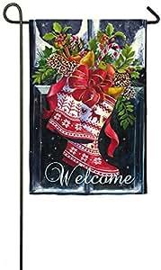 Evergreen Norwegian Christmas Boots Suede Garden Flag, 12.5 x 18 inches