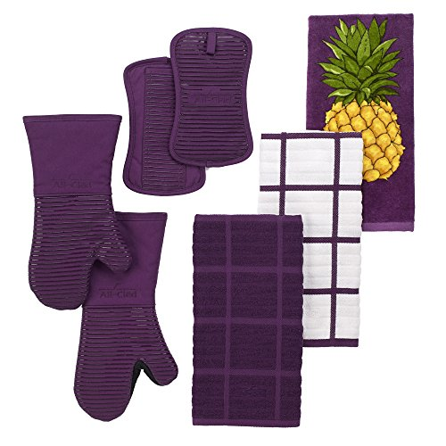 All-Clad Textiles Fire-Resistant Heavyweight Cotton Twill Oven Mitt with Non-Slip Silicone Grip and Reinforced Thumb, 500°F Heat Threshold, Plum Purple by All Clad Textiles (Image #7)
