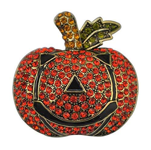 Vintage Rhinestone Black Enamel Pumpkin Brooches Unisex Halloween Brooch Pin Festival Decorations Gift]()