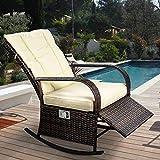 ENSTVER Indoor & Outdoor Reclining Chair-Porch Garden Lawn Deck Wicker Rocke Chair-Auto Adjustable Rattan Sofa w/Cushion (Beige-White Cushion) Review