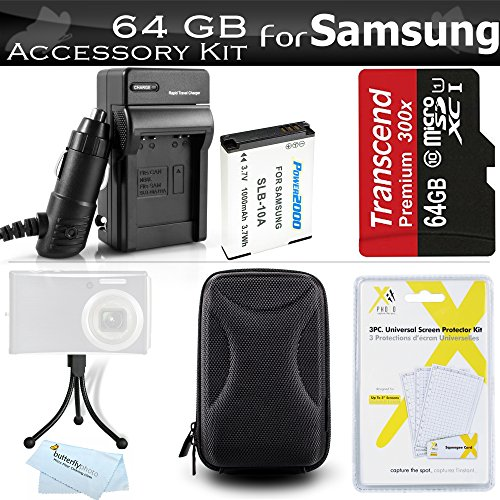 64GB Accessories Kit For Samsung WB350F Smart WiFi Digital Camera Includes 64GB High Speed Micro SD Memory Card + Extended Replacement (1000 maH) SLB-10A Battery + AC/DC Travel Charger + Case + Mini TableTop Tripod + Screen Protectors + More by ButterflyPhoto