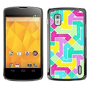 For LG Google NEXUS 4 / Mako / E960 Case , Abstract Vibrant Teal Purple Pattern - Diseño Patrón Teléfono Caso Cubierta Case Bumper Duro Protección Case Cover Funda
