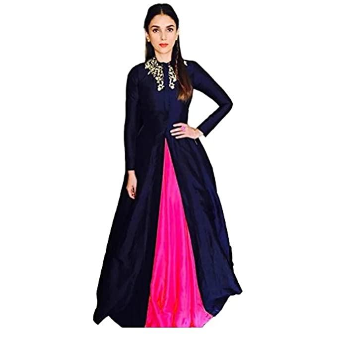bd9ed1d2a3 Windson New Designer Nevy Blue Multicolored Suit (Pink) Dupion Silk Fabric  Gown Salwar Suit Dress: Amazon.in: Clothing & Accessories