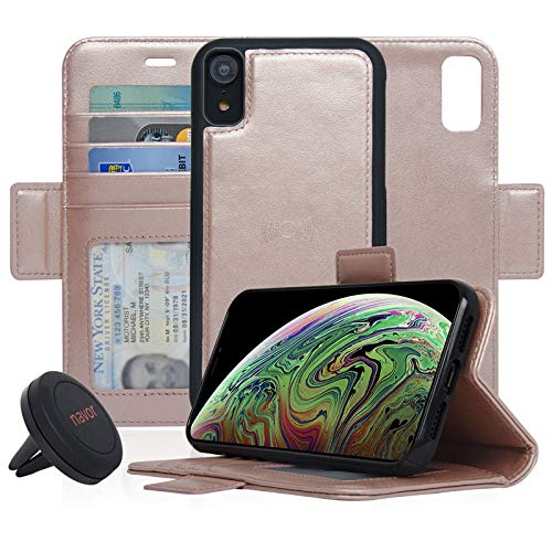 navor Universal Car Mount and Detachable Magnetic Wallet Case Compatible for iPhone XR 6.1'' [Vajio Series]- Rose Gold [IPXRVJKTRG]