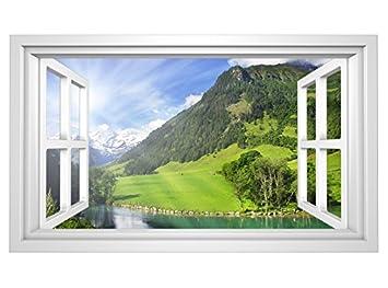 3d Wandmotiv Berge Fenster Alpen Landschaft See Wandbild Wandsticker