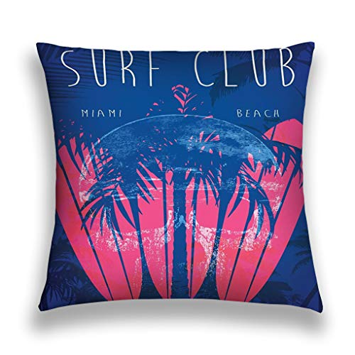 wuhandeshanbao Throw Pillow Cover Pillowcase Illustration Theme surf Club Miami Grunge Background Vintage Design Typography Print Sofa Home Decorative Cushion Case 18