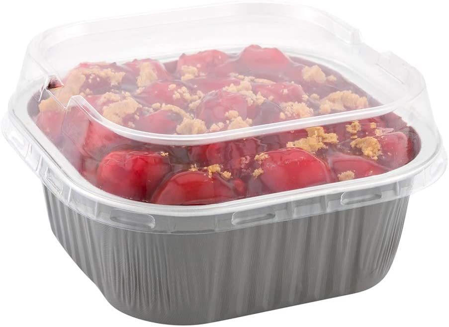 Lids For 10 Ounce Disposable Ramekins, 100 Square Lids For Creme Brulee Disposable Cups - Dome Lids, LeakResistant, Clear Plastic Lids For Disposable Baking Cups, Baking Cups Sold Separately