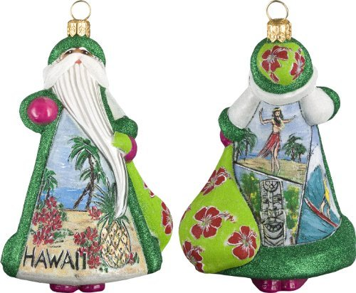 Hawaii Christmas (Aloha Hawaii Santa with Hula Dancer Polish Glass Glitterazzi Christmas Ornament)