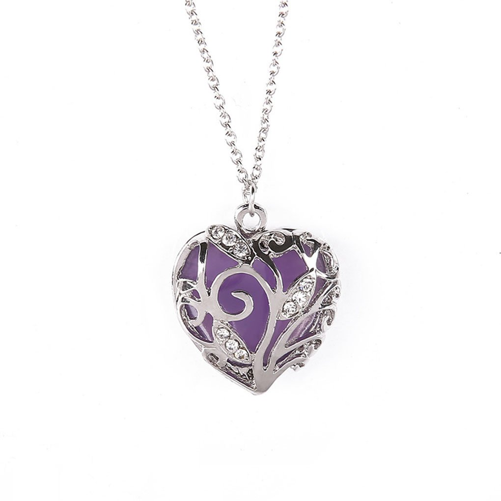 Harmily Glow in Dark Women Necklace Hollow Out Heart Crystal Pendant Luminous Chocker Necklace