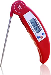 Fatom Food Meat Candy Cooking Thermometer,Digital Instant Read by LCD, with 304 Stainless Steel Probe for BBQ Grill Kitchen Smoker Oil Fry (Red)