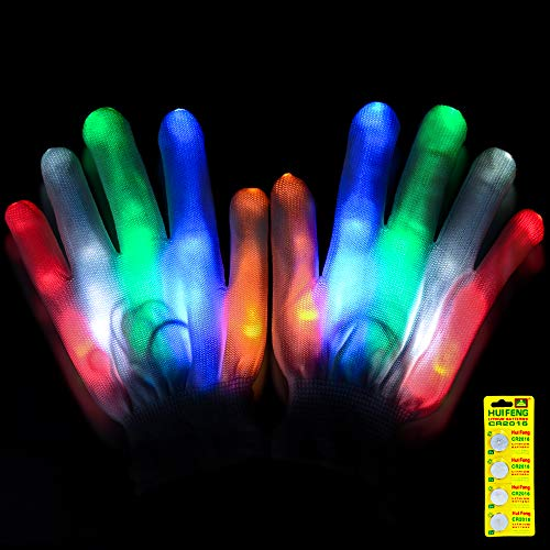 Flashing LED Light Gloves Led Skeleton Gloves, 12 Color Changeable Light Up Hand Gloves 4 Buttons Batteries Combined Halloween Costume, Novelty (Child-White)