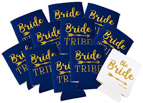 BRIDE TRIBE Bachelorette Can Cooler Sleeves - 11 Pack Insulated Can Cover/Drink Holder/Bottle Jacket/Beer Sleeves + BONUS FUN PHOTO GAME | 10 Navy Blue & 1 White | Decorations, Supplies & Party Favors