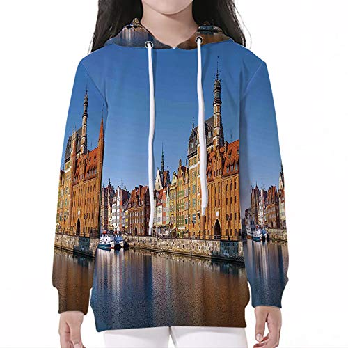 Unisex Child Hoodie,Cityscape,Riverside View in Old Town Early Morning Light Ret