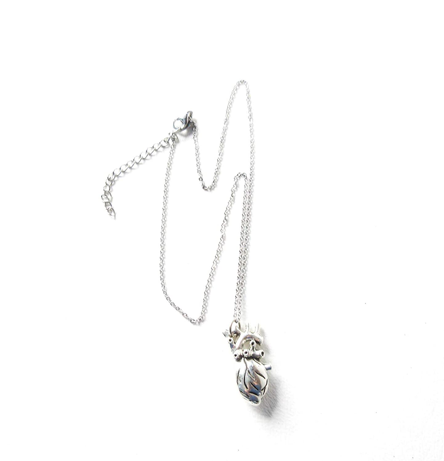 Anatomical Heart Necklace with Stainless Steel Chain 3D Jewelry