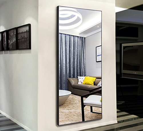 H&A Thin Frame Rectangle Bedroom Floor Mirror, Wood Finished Frame Free Standing Dressing Mirror, 65