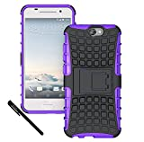 HTC One A9 Case Cover - Tough Rugged Dual Layer Protective Case with Kickstand for HTC One A9 (2015 Release) - Purple