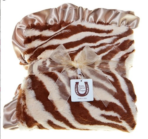 Receiving Zebra Print Blanket - Max Daniel Baby Plush Print Baby Throw - Tan Zebra