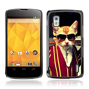 CASETOPIA / Gangster Kitty Cat / LG Google Nexus 4 E960 / Prima Delgada SLIM Casa Carcasa Funda Case Bandera Cover Armor Shell PC / Aliminium