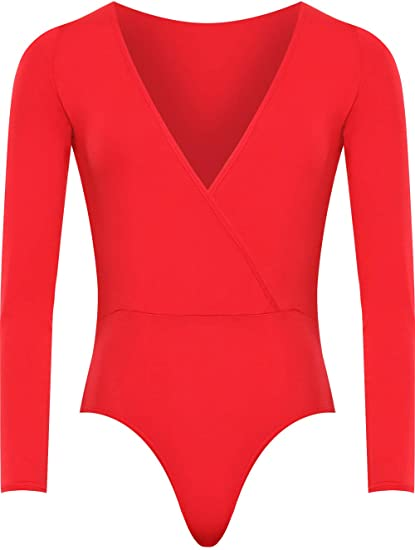 3609eaa6ce1 WearAll Plus Size Women s Wrap V Neck Long Sleeve Bodysuit Top at Amazon  Women s Clothing store