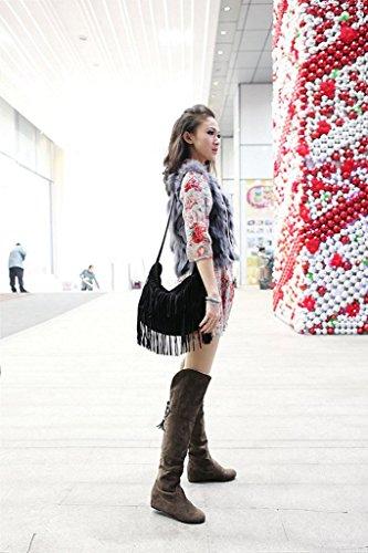 De Marrón Botas Moda De De Piel Nieve Minetom Invierno La Slouchy Calentar Cargadores Mujer Rodilla Botas nqWnBScZ7w