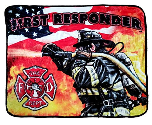 Earth Ragz 50 inch by 60 inch Plush Coral Fleece First Responder Blanket Throws - Fire Police EMT (FIRE- 1ST Responder)