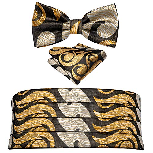 Barry.Wang Men Gold Paisley Cummerbund and Bow Tie Pocket Square Silk Satin Belt Formal Wedding Party