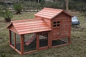 XL Large Wooden Rabbit Hutch Chicken Hen Coop Ferret cage with Run Tray