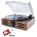 LoopTone 3 Speed Classic Vintage Style Vinyl Record Player with Stereo Speakers,Supports Vinyl To Mp3 Recording,Rca Audio line out,Oak
