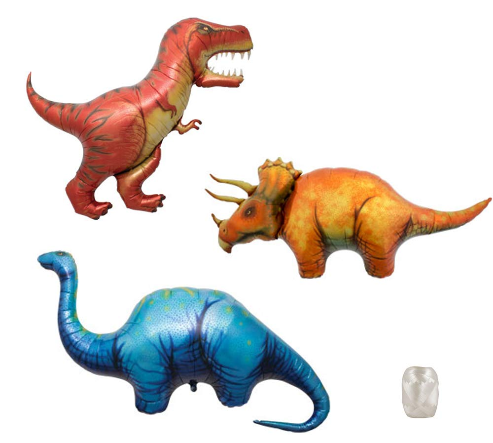 TCS Party Bundles 47 T-Rex 50 Triceratops 51 Apatosaurus Foil Mylar Balloon Bundle with Matching Ribbons