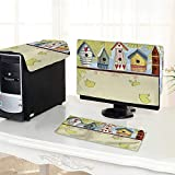 """Auraisehome Computer dustproof Three-Piece of Birdhouses with Birds Hearts Leaves and Flowers Illustration Pistachio Green Beige for LED LCD Screens Flat Panel HD Display /19"""""""