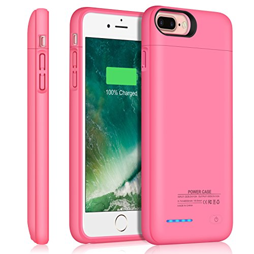 JUBOTY Battery Case for iPhone 8 Plus/7 Plus, 4200mAh Magnetic Slim Charger Case Extend 153% Battery Life Rechargeable Portable Backup Charging Case Compatible with iPhone 8 Plus/7 Plus(Pink) (Iphone 5 Battery Case Pink)