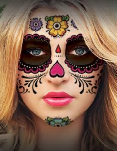 Sugar Skull Temporary Face Tattoo - Hearts & Flowers - Day of the Dead - Calavera - Halloween (Day Of The Dead Face Tattoo)