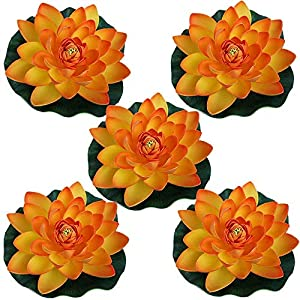 """AESTHING 5PCS Artificial Water Lily Plants Foam Floating Lotus Flower for Pool Decoration and Pond Decoration 7"""" (Orange) 111"""