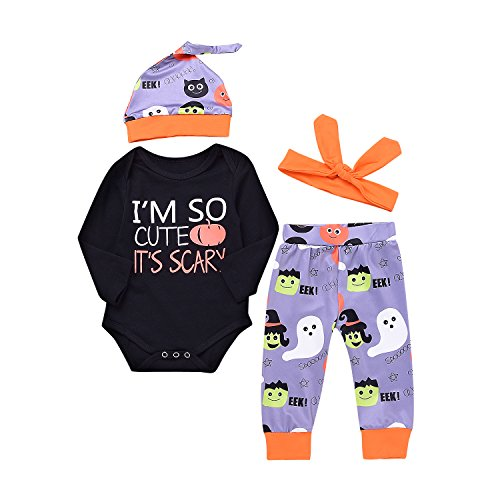 Unisex Baby Boys Girls Christmas Romper I'm So Cute Halloween Bodysuit and Pants Winter Outfit 4pcs Set Best Halloween Gift