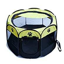 Portable Mesh Shade Cover Pet Tent Pet Fence, Foldable Indoor Outdoor Pop-up Cat Dog Playpen Camping Tent for Puppy Kennel (Yellow)