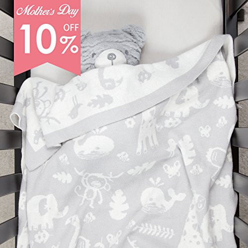 Sweater Knit Baby Blanket Gray with Animal Patterns 100% Organic Cotton Stretchy Swaddle Blanket Knitted for Boys or Girls Warm Soft Cozy 30x40 By TILLYOU - Knit Instructions