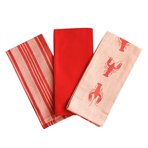 Kitchen Dish Towel by F.E.D, Extra Large Tea Towel in 3 Colours, 100% Professional Cotton, Machine Washable Fabric (Set/Pack of 3) (Red ()