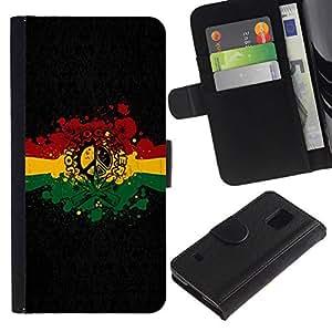 All Phone Most Case / Oferta Especial Cáscara Funda de cuero Monedero Cubierta de proteccion Caso / Wallet Case for Samsung Galaxy S5 V SM-G900 // Rasta Reggae Peace Sign