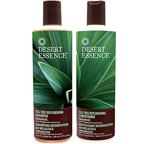 Desert Essence All Natural Organic Tea Tree Replenishing Shampoo and Conditioner For Dry Flaky Scalp With Aloe Vera, Eucalyptus, Peppermint Essential Oil, Keratin and Yucca, 12.9 fl. oz. each