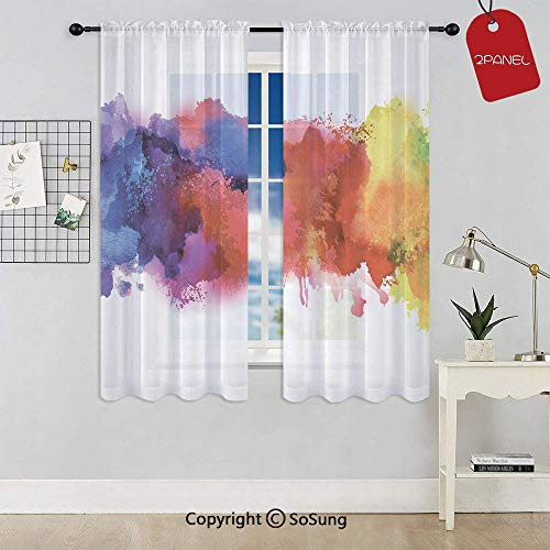 Vibrant Stains of Watercolor Paint Splatters Brushstrokes Dripping Liquid Art Decorative Rod Pocket Sheer Voile Window Curtain Panels for Kids Room,Kitchen,Living Room & Bedroom,2 Panels,Each 42x45 In ()