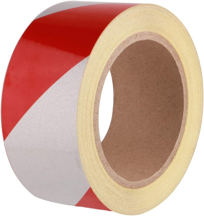 5CM x 23M Self Adhesive Hazard Warning Tape Barrier Tape Warning Safety Tapes Reflective Warning Tape for Vehicles Hazard Floor Marking Tape GTIWUNG Premium Red And White Hazard Warning Tape