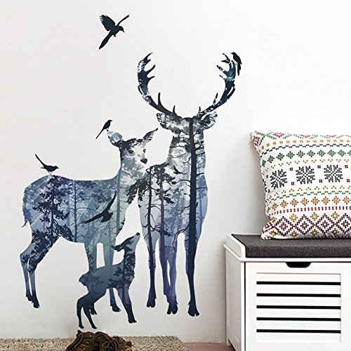 Deer Family Wall Art Sticker Quote STICKER4U 'from the Forest | Effect Picture: 78x109 cm Guest Room Wall Sticker Wall Decal Wall Sticker for Living Room, Kitchen, Coat Hooks Rack Stand Hallway Large